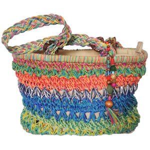 Capellie Straworld Rainbow Tote with Bead Charm